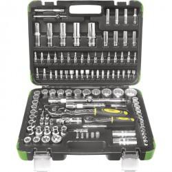 Estuche de herramientas 113 piezas con vasos cromados de doce cantos
